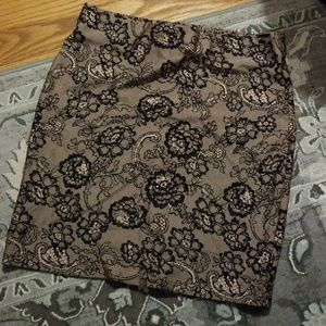 Forever 21 Lace Floral Print Nude Black Mini Skirt